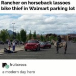 Rancher On Horseback Lassoes Bike Thief In...