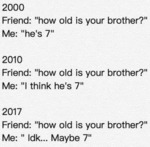 Friend: - How Old Is Your Brother - Me: - He's 7