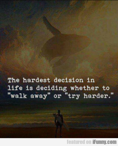 The Hardest Decision In Life Is Deciding Whether..