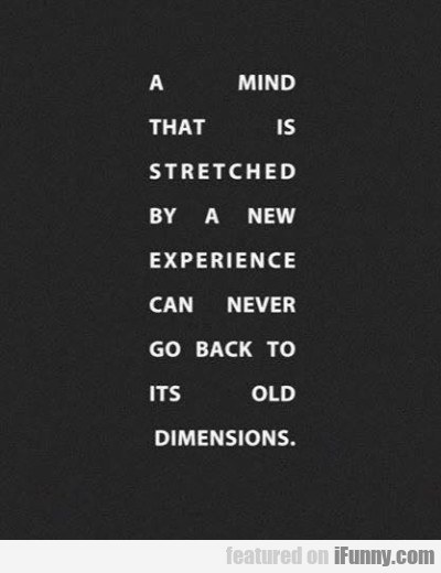 A Mind That Is Stretched By A New Experience...