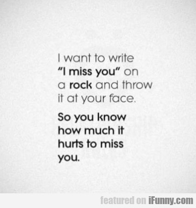 I want to write I miss you on a rock and...