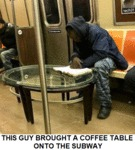 This Guy Brought A Coffee Table Onto The Subway...