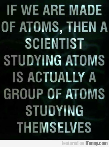 If We Are Made Of Atoms, Then A Scientist...