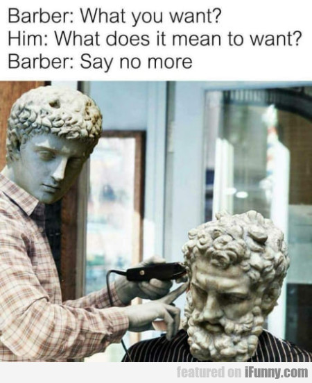 Barber: What you want? - Him: What does it mean...