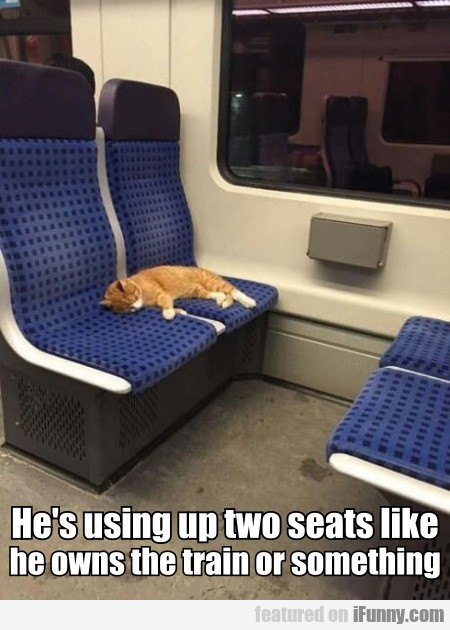 He's Using Up Two Seats Like He Owns The...