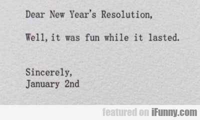 Dear New Year's Resolution - Well, It Was Fun...