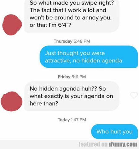 So What Made You Swipe Right - The Fact That I...