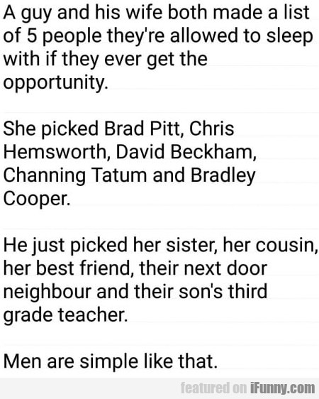 A Guy And His Wife Both Made A List Of 5 People...