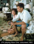 Jfk Playing Xbox One, Colourised, 1953