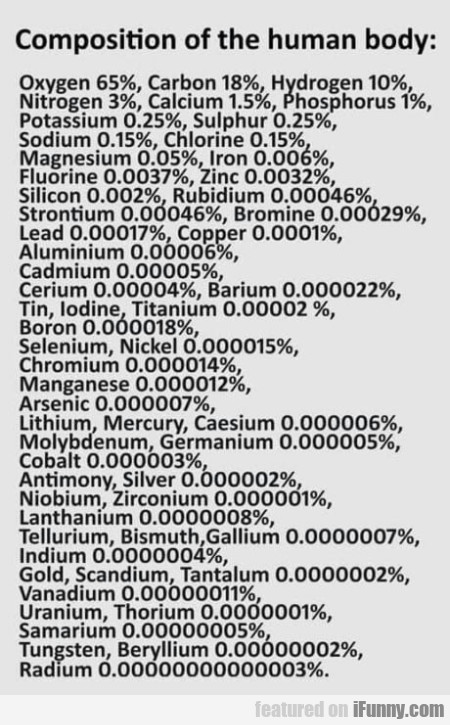 Composition Of The Human Body - Oxygen 65%...