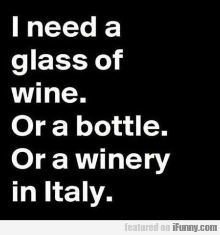 I Need A Glass Of Wine. Or A Bottle. Or A...