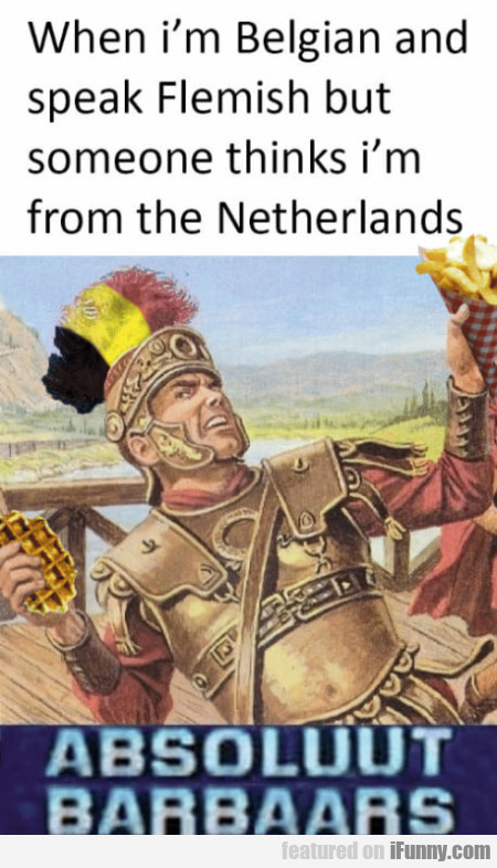 When I'm Belgian And Speak Flemish But Someone...