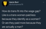 How Do Trans Fit In The Wage Gap - Like Is A...