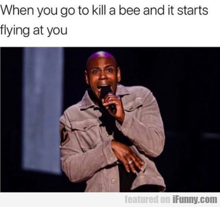 When you go to kill a bee and it starts flying...