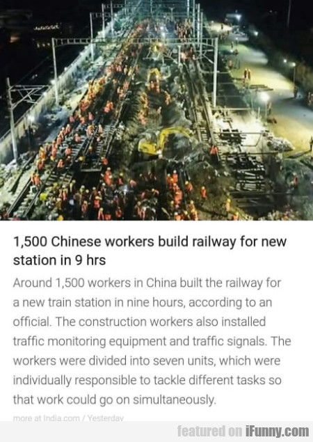 1,500 Chinese Workers Build Railway For New...