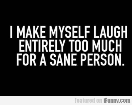 I make myself laugh entirely too much for a...