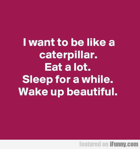 I Want To Be Like A Caterpillar. Eat A Lot...