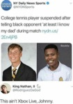 College Tennis Player Suspended After Telling...