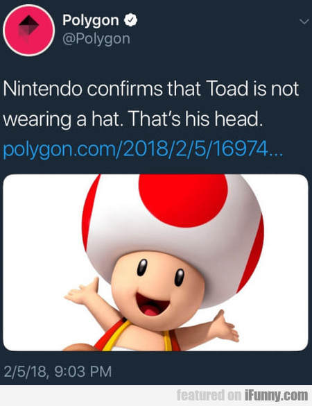 Nintendo Confirms That Toad Is Not Wearing A Hat..