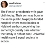The Finnish President's Wife Gave Birth Today...