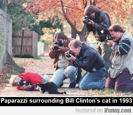 Paparazzi surrounding Bill Clinton's cat in 1993