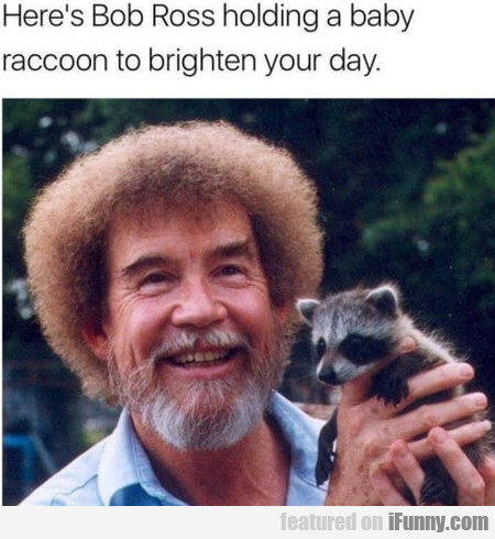 Here's Bob Ross Holding A Baby Raccoon To...