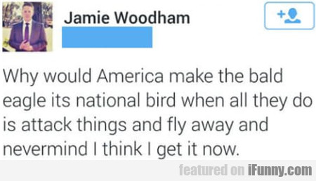 Why would America make the bald eagle its...