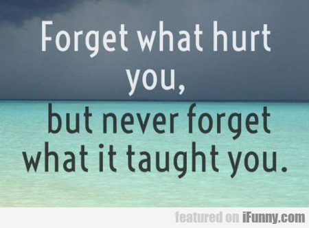 Forget What Hurt You, But Never Forget...