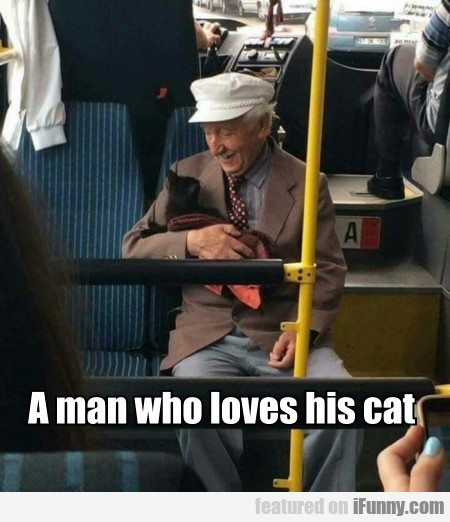 A man who loves his cat