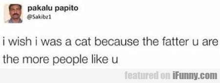 I wish I was a cat because the fatter u are the...