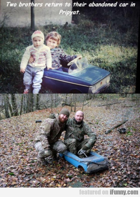 Two brothers return to their abandoned car in...