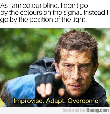 As I Am Colour Blind, I Don't Go By The Colours...