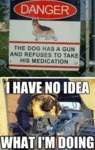 The Dog Has A Gun And Refuses To Take His...