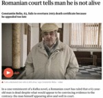 Romanian Court Tells Man He Is Not Alive...