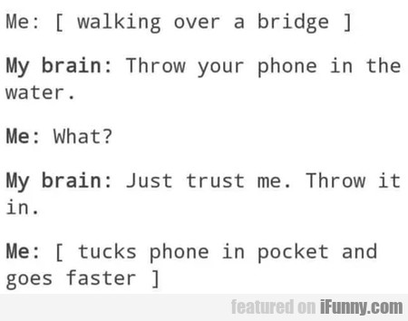 Me - Walking Over A Bridge - My Brain - Throw...