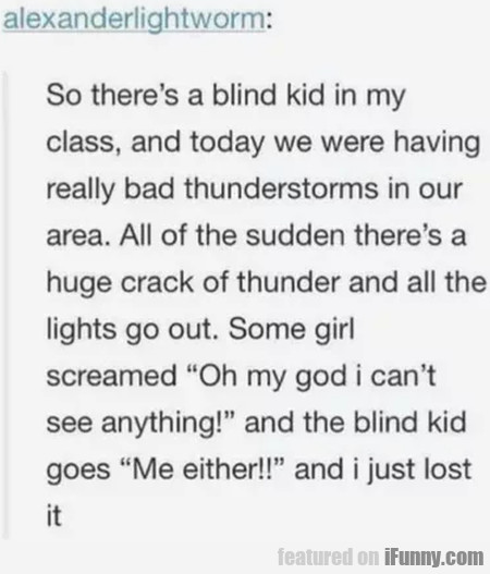So There's A Blind Kid In My Class, And Today We..