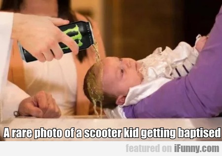 A rare photo of a scooter kid getting baptised...