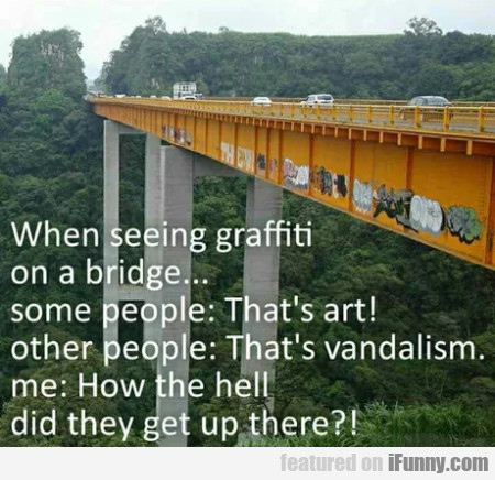 When Seeing Grafitti On A Bridge... Some People...
