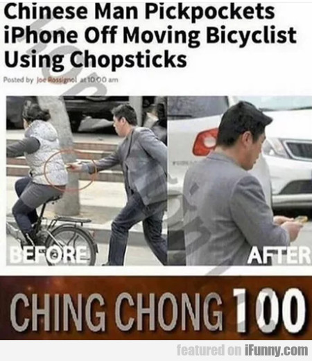 Chinese Man Pickpockets Iphone Off Moving...