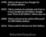 1998: Yahoo Refuses To Buy Google For $1 Million..