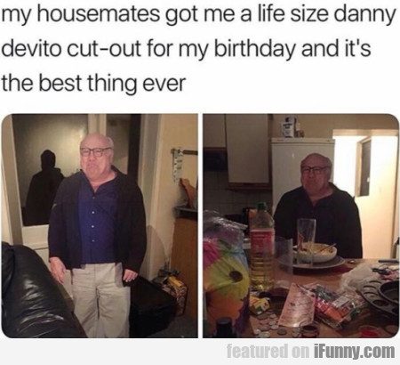 My Housemates Got Me A Life Size Danny Devito...