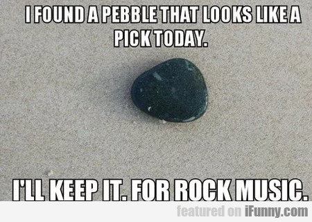 I Found A Pebble That Looks Like A Pick Today...