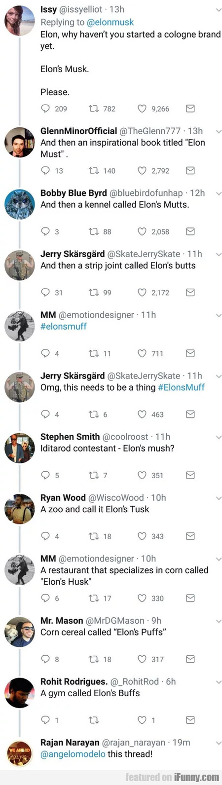 Elon, why haven't you started a cologne brand...