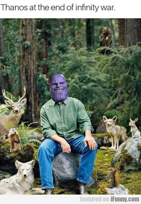Thanos at the end of infinity war...