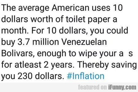The average American uses 10 dollars worth of...
