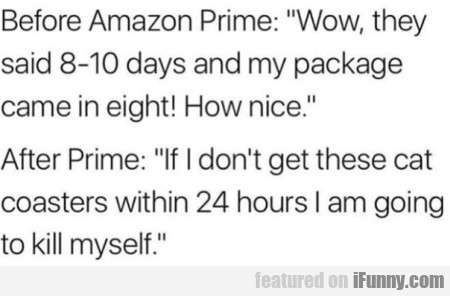 Before Amazon Prime - Wow, they said 8-10 days...
