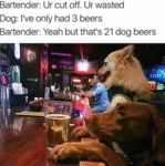 Bartender: Ur Cut Off. Ur Wasted. Dog: I've Only..