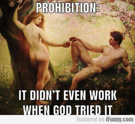 Prohibition - It Didn't Even Work When God Tried..