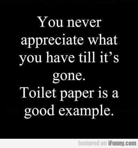 You Never Appreciate What You Have Till It's...
