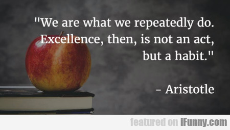 We Are What We Repeatedly Do. Excellence..